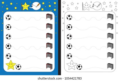 Preschool worksheet for practicing fine motor skills - tracing dashed lines from soccer ball to goal