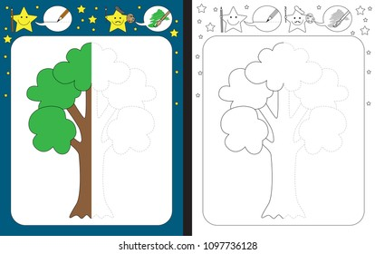 Preschool worksheet for practicing fine motor skills - tracing dashed lines - finish the illustration of a tree