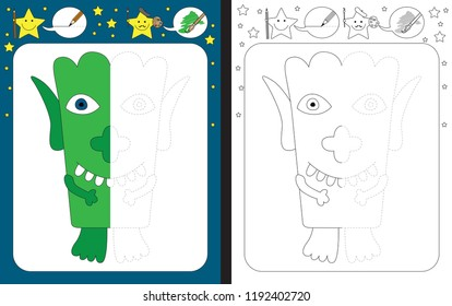 Preschool worksheet for practicing fine motor skills - tracing dashed lines - finish the illustration of green little monster