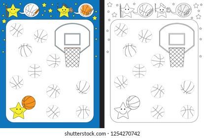 Preschool worksheet for practicing fine motor skills - tracing dashed lines - finish the illustration of basketballs