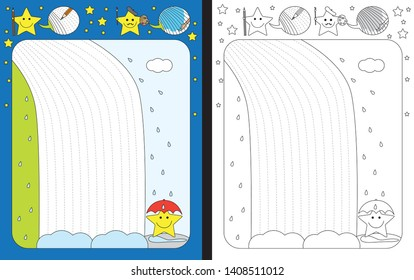 Preschool worksheet for practicing fine motor skills - tracing dashed lines of waterfall