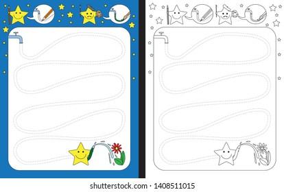 Preschool worksheet for practicing fine motor skills - tracing dashed lines of garden hose