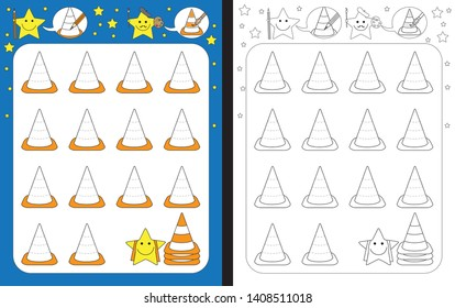 Preschool worksheet for practicing fine motor skills - tracing dashed lines of traffic cones