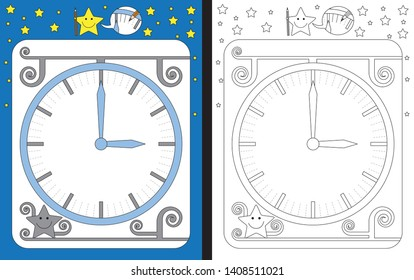 Preschool worksheet for practicing fine motor skills - tracing dashed lines of minutes on the clock