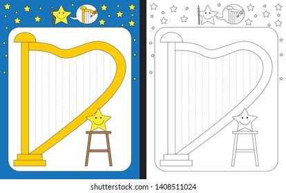 Preschool worksheet for practicing fine motor skills - tracing dashed lines of harp strings