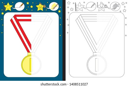 Preschool worksheet for practicing fine motor skills - tracing dashed lines - finish the illustration of a gold medal