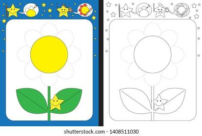 Preschool worksheet for practicing fine motor skills - tracing dashed lines of flower petals