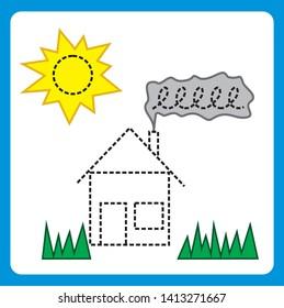 Preschool worksheet for practicing fine motor skills. Trace line worksheet for preschool kids.