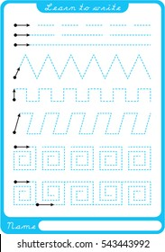 Preschool worksheet for practicing fine motor skills - tracing dashed lines. Tracing Worksheet.  Illustration and vector outline - A4 paper ready to print.