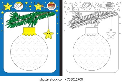 Preschool worksheet for practicing fine motor skills - tracing dashed lines of decorations on Christmas ornament