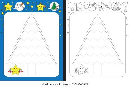 Preschool worksheet for practicing fine motor skills - tracing dashed lines of Christmas tree illustration