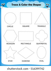 Worksheet Trace the Shapes and Color. Images, Stock Photos ...