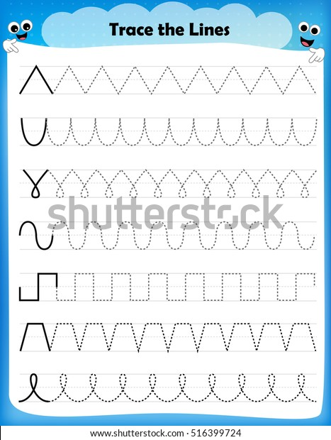 Preschool Worksheet Trace Shapes Color Basic Stok Vektor Telifsiz