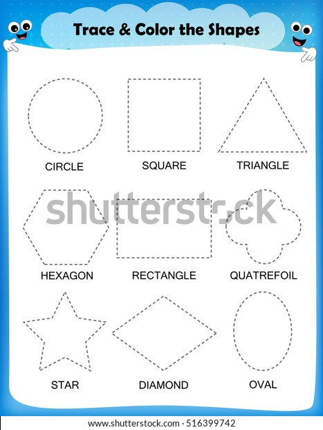 Preschool Worksheet Trace Shapes Color Basic Stock Vector (Royalty Free)  516399742