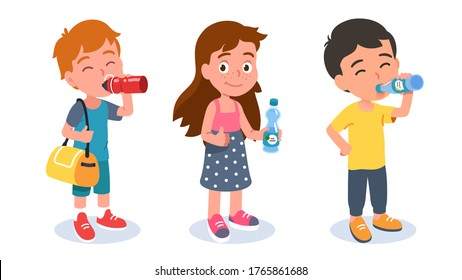 Preschooler girl & boys standing, holding bottles & enjoying drinking beverages. Thirsty kids with soda & water soft drinks showing thumbs up. Children cartoon characters set. Flat vector illustration