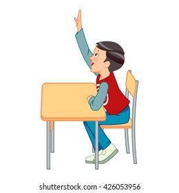 Preschoolers raising their hands in class - Vector