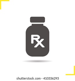Prescription drugs icon. Drop shadow medication silhouette symbol. Painkiller. Medicine bottle with rx sign. Vector isolated illustration