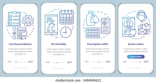 Prescription list and online pharmacy onboarding mobile app page screen vector template. Rx refills. Walkthrough website steps with linear illustrations. UX, UI, GUI smartphone interface concept