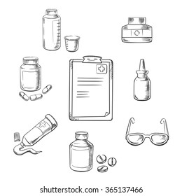 Prescription and medical sketch icons with clipboard, drugs and pills, ointment, dosage, liquid medication, dropper and glasses