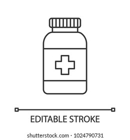 Prescription pills bottle linear icon. Thin line illustration. Medications. Contour symbol. Vector isolated outline drawing. Editable stroke