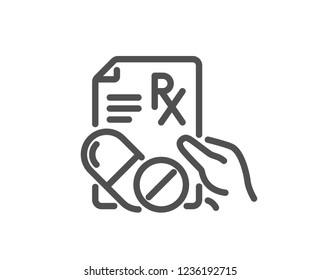 Prescription Rx recipe line icon. Medicine drugs pills sign. Quality design flat app element. Editable stroke Prescription drugs icon. Vector