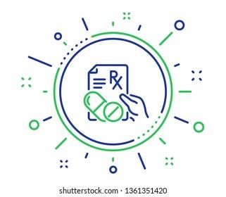Prescription Rx recipe line icon. Medicine drugs pills sign. Quality design elements. Technology prescription drugs button. Editable stroke. Vector