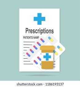 Prescriptions and pills icon. Medicine illustration