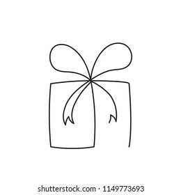Present box continuous editable line vector illustration. Wrapped surprise package with ribbon and bow.