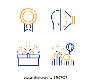 Present box, Face id and Reward icons simple set. Roller coaster sign. Sale offer, Phone scanning, Best medal. Attraction park. Business set. Linear present box icon. Colorful design set. Vector