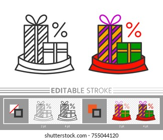 Present box, gift in Santa bag xmas sale linear icon Line without, with color fill. Editable stroke, fill, background Outline sign Web, print, logo, tag, label season clearance design Vector isolated