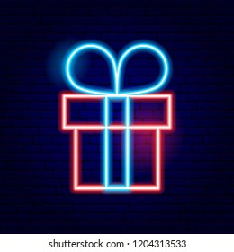 Present Box Neon Sign. Vector Illustration of Winter Holiday Promotion.