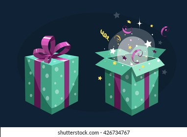 Present box. Open and close. Vector illustration. Isolated