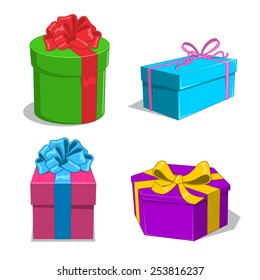 Present boxes collection. Sketch objects isolated on white. Eps 10 vector illustration.