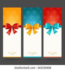 Present Card with Bow Set. Vector illustration