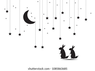 Present Card in Night theme  Moon  Stars with copy space.Moon and dreaming rabbits and night sky. Vector illustration. EPS 10