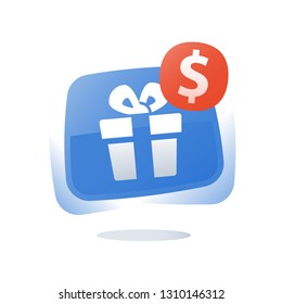 Present with dollar sign, gift box button, special offer, give away package, loyalty program and reward, vector icon, flat illustration