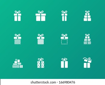 Present icons on green background. Vector illustration.