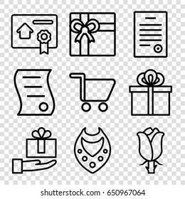 Present icons set. set of 9 present outline icons such as necklace, gift, rose, bill of house sell, bill of house, shopping cart