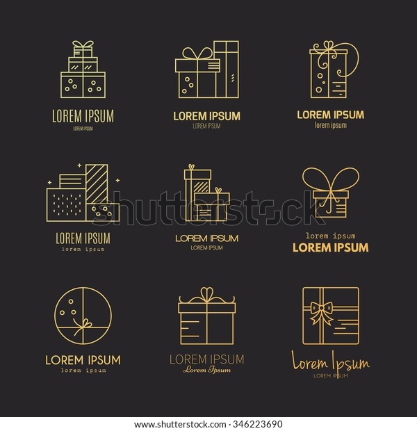Present labels and icons. Vector collection of different presents and gift boxes. Vector line series.