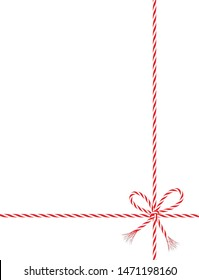 Present with red-white cord string, Vector illustration isolated on white background