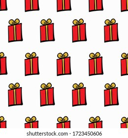 Present seamless pattern. Drawing by hand. Vector illustration.
