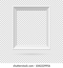 Presentation A3 or A4 rectangular vertical picture frame design with shadow on transparent background. 3D Board Banner Stand on isolated clean blank table Vector illustration EPS 10 for photo, image