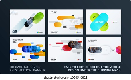 Presentation. Abstract vector set of modern horizontal templates with colourful rounded rectangles