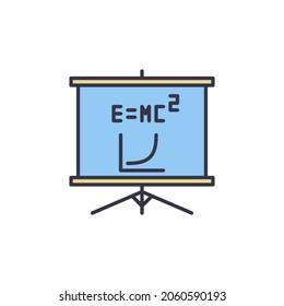 Presentation Board with E=MC2 vector concept colored icon or symbol