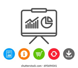 Presentation Board Line Icon Report Chart Stock Vector (Royalty Free