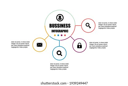 Presentation business infographic design template with circle 4 options. Vector design concept label banner elements for presentation 4 steps. The thin line infographics design presentation four steps