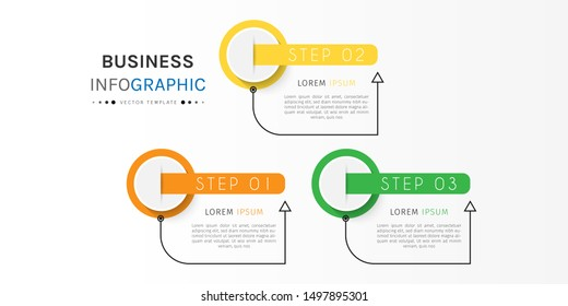 Presentation business infographic template with 3 options or steps. Can be used for workflow layout, diagram, business step options, banner, web design. Vector illustration.