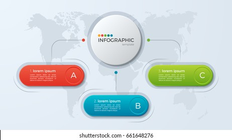 Presentation business infographic template with 3 options. Vector illustration.