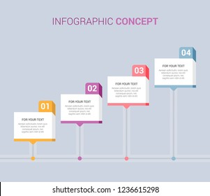 Presentation business infographic template with 4 options. Template for diagram, graph, presentation and chart.  4 options, parts, steps or processes. Vector illustration. EPS10