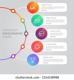 Presentation business infographic template with 5 options. Eps10 vector illustration.